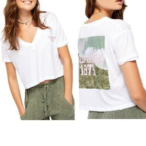 FREE PEOPLE Embroidered California V-Neck Crop Top